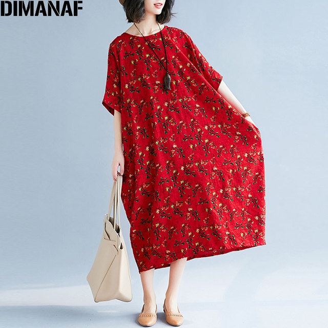 851b3e29a75 DIMANAF Women Dress Summer Plus Size Linen Female Prairie Chic Floral  Vintage Lady Vestidos Loose Large