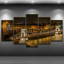 Modular Vintage Night View Pictures 5 Panel Hungary City Home Decor Paintings On Canvas Bridge Wall Art For Living Room HD Print