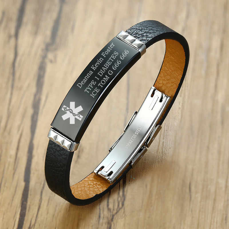 Free Customized Medical Alert ID Bracelet Tag Black Geruine Leather DIABETES Emergency