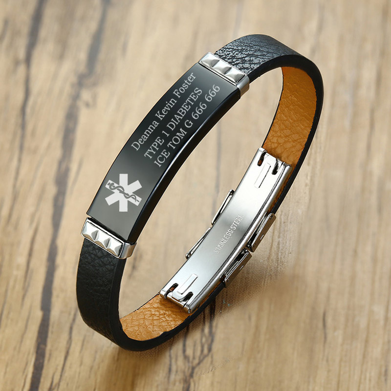 Diabetic Bracelet Medical Jewelry Allergy  Medical Bracelet Medical ID Bracelet Medical Alert Leather Bracelet