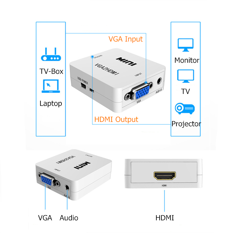 Rankman VGA Male to HDMI Female Converter with Audio Adapter Cables 1080P for HDTV Monitor Projector PC PS3