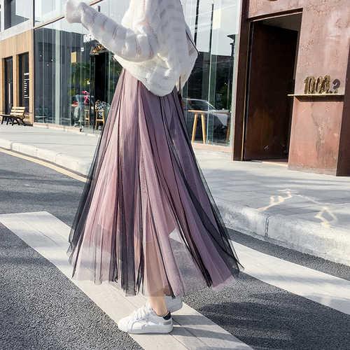 7959f21f1 Falda larga de tul asimétrica de verano para mujer - Gooum
