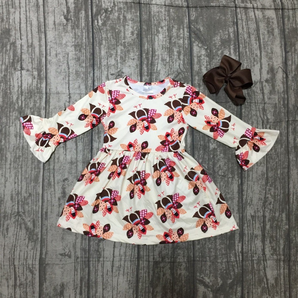 цены new fall/winter thanksgiving day baby girls milk silk cotton dress turkey print ruffle long children clothes boutique match bow