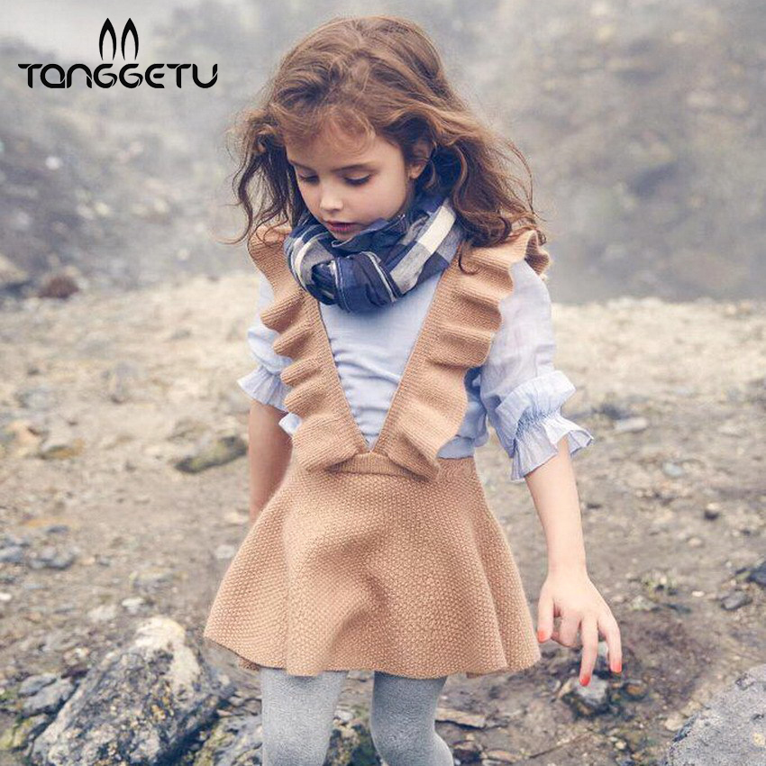Tanggetu 2018 new spring wood ear in Europe and girls knitted children's dress strap sweater dress girls spring dress 2016 women s clothing fashion in europe and the atmosphere bohemia elasticity knitted cultivate one s morality dress