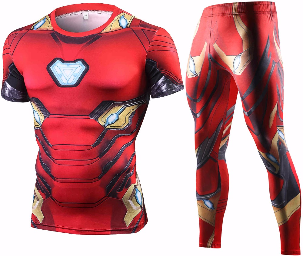 New Ironman Compression Summer T Shirt Set Men Exercise Brand Tracksuit 3D Printed Men Sets Fitness Clothing Sportswear Suits