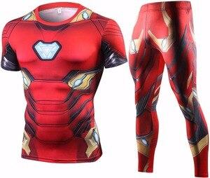 Мужской спортивный костюм Ironman, футболка с 3D принтом, для фитнеса, на лето