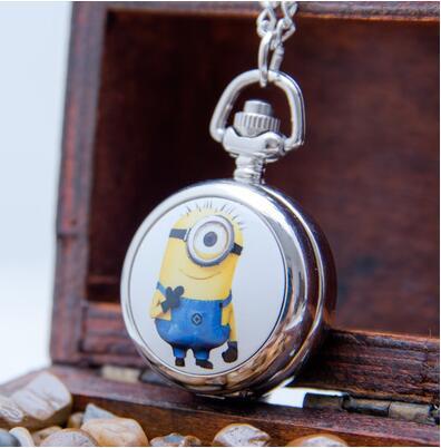 Minions Pattern Enamel Children Pendant Birthday Gift Bronze Antiques Necklace Pocket Watches Gift