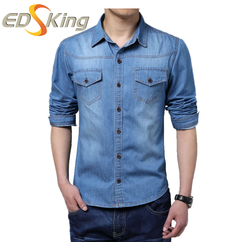 Hombre Vestido de Camisa Camisa Jeans Masculino Adelgazan