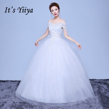 Free Shipping Flower Bling Boat Neck Wedding Dresses 2017 White Bridal Frocks Real Photo Custom Made Vestidos De Novia 1136
