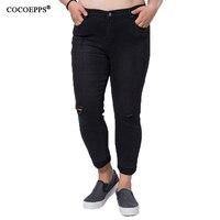 Cocoepps kot kadınlar 2017 moda köpek cep bayanlar jeans vintage pantolon kadın delik kot artı boyutu kot pantolon s/m/l/xl