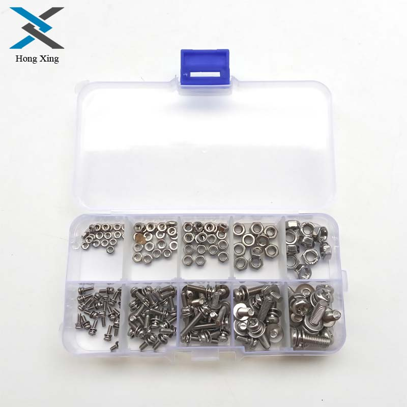 160Pcs/Set Stainless Steel SS304 Screws An Head Screws Nuts Bolts Assortment Kit M2 M2.5 M3 M4 M5