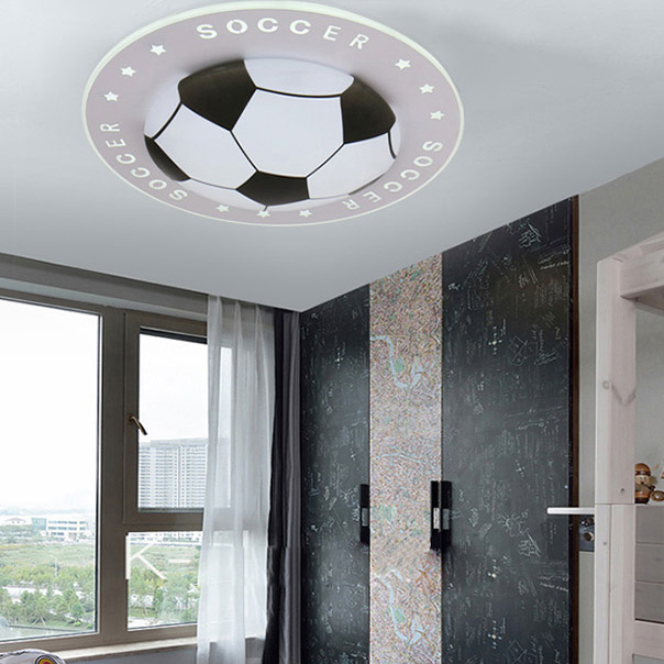 Modern football ceiling light creative art deco LED lamp for boy children bedroom lamp fixture simple personality soccer lamps in Ceiling Lights from Lights Lighting