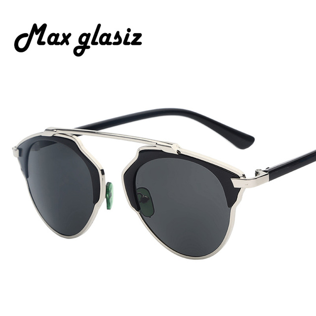 Maxglasiz 2016 New Summer Fashion Vintage Metal Female Cateyes Eyewear Gafas Luxury Brand Women Designer Retro Men Sunglasses