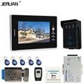 JERUAN 7 ''Цветной Экран Видео Домофон Домофон Системы + 1 мониторы + RFID Водонепроницаемый Сенсорный клавиша Камеры + электронный замок