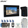 JERUAN 7`` Color Screen Video Intercom Entry Door Phone System + 1 monitors + RFID Waterproof  Touch key Camera+Electronic lock