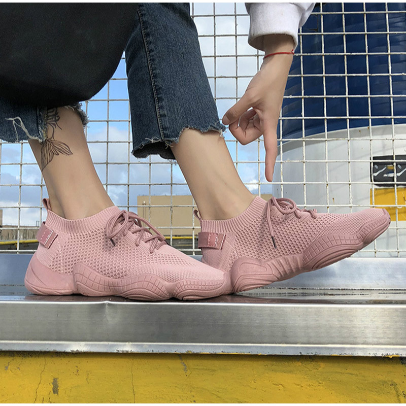HTB1JpdZRzDpK1RjSZFrq6y78VXaE Women Mesh Spring Sneakers Ladies Lace Up Stretch Fabric Platform Flat Vulcanized Casual Shoes Female Breathable Fashion