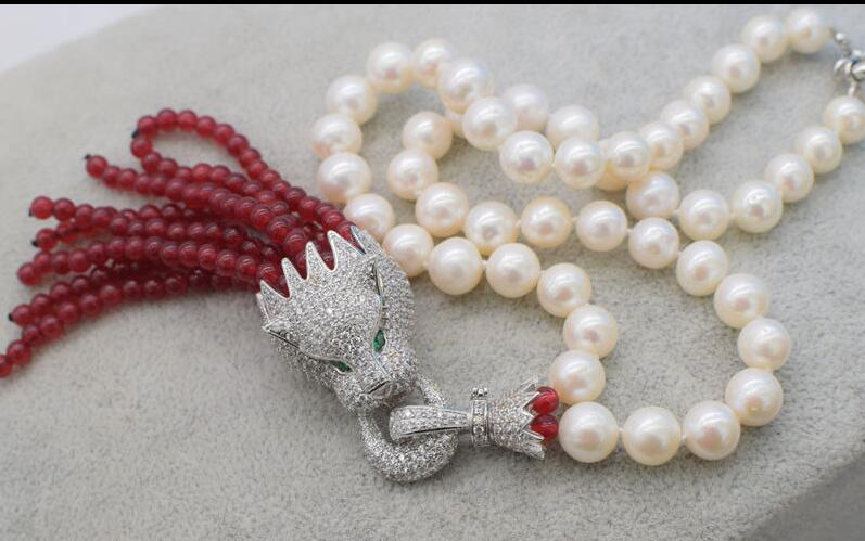 freshwater pearl white round 9 10mm leopard red bead necklace 18nature