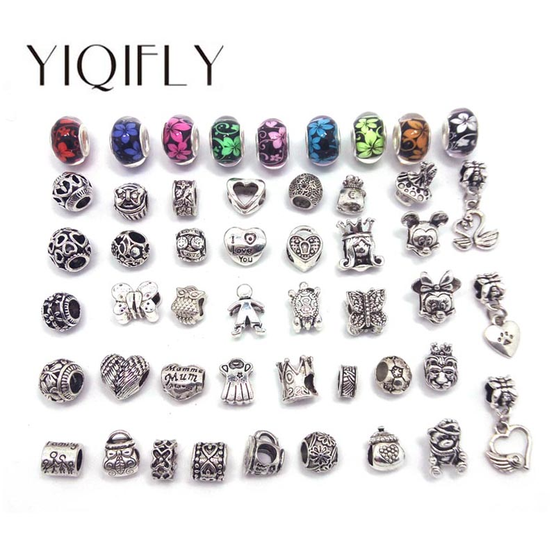 Free shipping 50pcs mix style antique silver plated alloy big hole beads fit European Pandora charms bracelets DIY