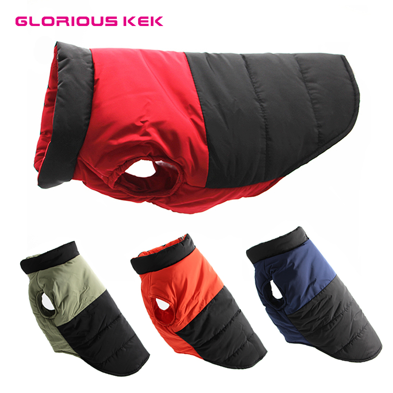 GLORIOUS KEK Waterproof Dog Clothes Winter Reversible Warm Pet Dog Coat Outdoor Vest Padded Jacket For