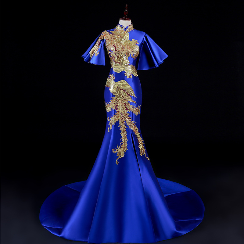 Royal Blue Applique Traditional Chinese Wedding Gown Cheongsam Qipao Dress Dragon Phoenix Clothing Flare Sleeve Evening Dresses