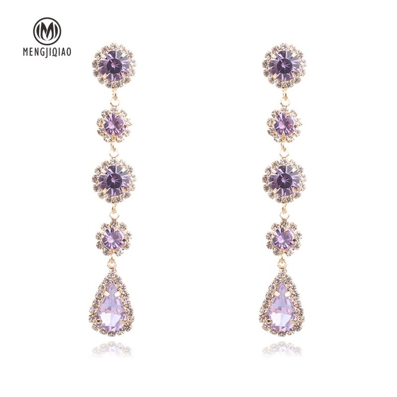 MENGJIQIAO 2018 Korean New Purple Crystal Water Drop Dangle Earrings Women