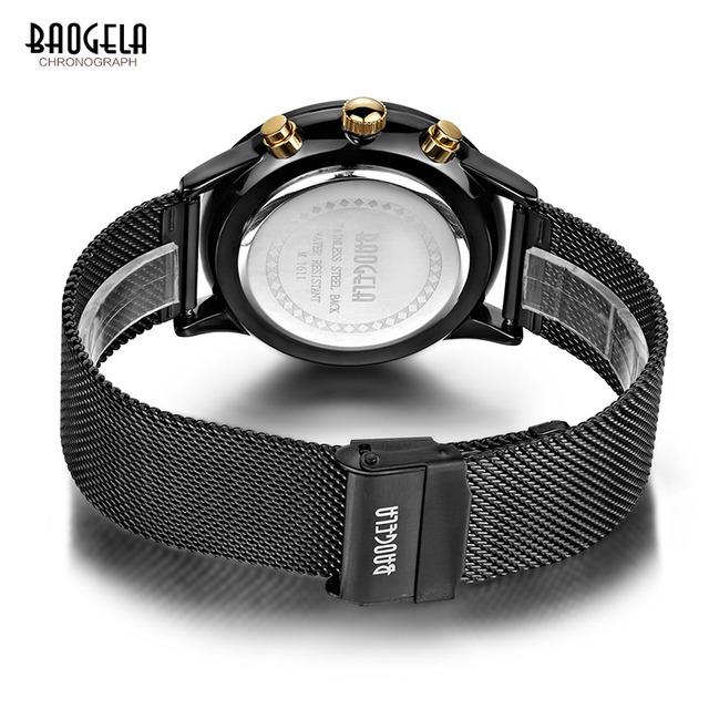 Baogela Mens Chronograph Black Stainless Steel Mesh Strap Military Sport Quartz Wrist Watches with Luminous Hands 1611G 5