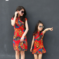 Mom And Girls Cheongsam Skirts Family Matching Outfits Mother Daughter Embroidery Chinese Traditional Costumes