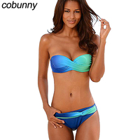 Cobunny Bandeau Push Up Swimwear Women Bikini 2018 Sexy Lady Swimsuit Gradient Color Bathing Suits Brazilian