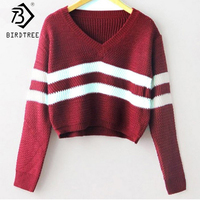 Autumn 2015 Striped Knitted Short Pullover Sweater Women Fashion V Neck Long Sleeve Casual Knitwear Korean
