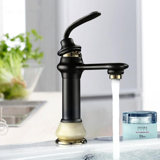 Free Shipping Basin Faucet ORB and gold finished bathroom Water Mixer hot and cold sink faucet,basin tap mixer with jade base pastoralism and agriculture pennar basin india
