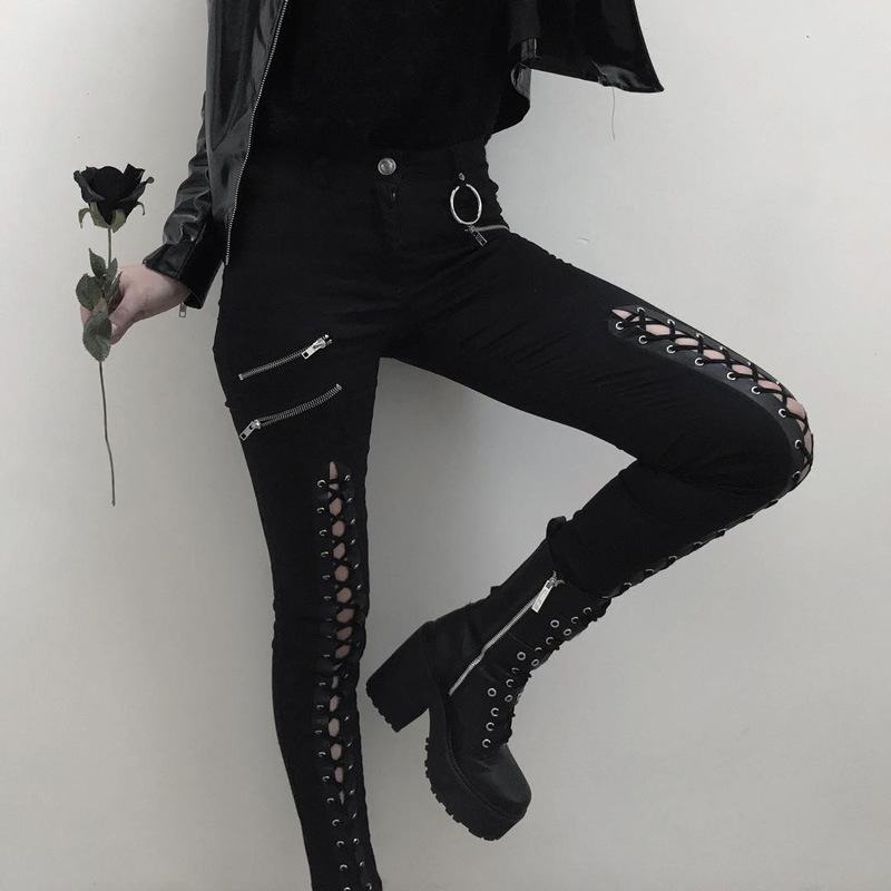 Gothic Women Pants Pencil Pants Skinny Zipper Lace Up Harajuku Sexy Pants Cool Chic Women Streetwear Black Slim Gothic Trouster
