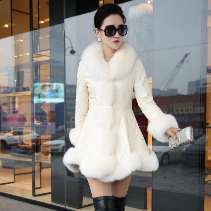 Fourrure Grande Femelle Vestes Col Manteaux En D'hiver Couro gray White Jaqueta Pu Veste Cuir brown Feminina Renard De Femmes Faux 6xl Taille qwOqaY