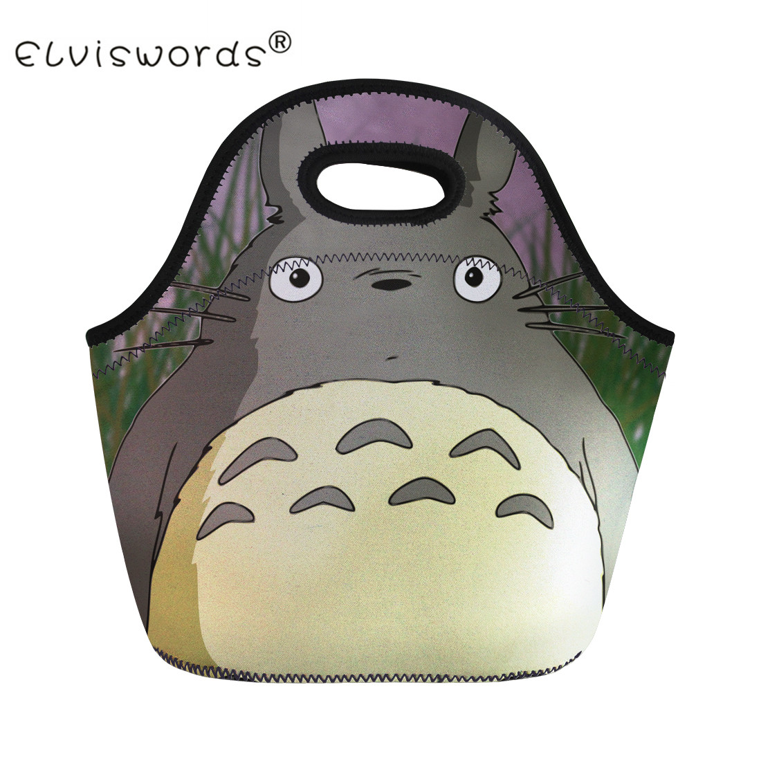 ELVISWORDS Totoro Print Thermal Lunch Bag for Children Women Beach Tote Bag Kids Girls Boys Food Picnic Insulation Cooler Bag