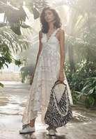 ВЗЛЕТНО посадочной полосы платье 2018 для женщин Летние Элегантные Спагетти ремень выдалбливают платье с вышивкой дамы Нерегулярные кружево