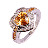 Luxury Rings Heart Cut Morganite & White Sapphire Jewelry 925 Silver Ring For Unisex Size 7 8 9 10 Wholesale Free Shipping
