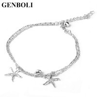 Women Ladies Lovely Starfish Anklet Foot Chain Fashion jewelry Trendy Sea Star Ankle with Small Bells Accesory Party Gifts