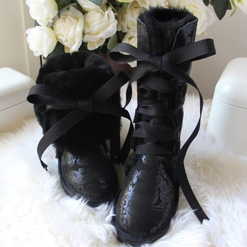 Hot Sale Fashion 100% Natural Fur Women Snow Boots genuine sheepskin Winter Boots Warm women boots Free Shipping