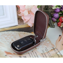 New Arrivals Genuine Leather Car Key Holder Wallet Crocodile Pattern Key chain Covers Zipper Key Case Bag Unisex Pouch Purses dice pattern car key chain