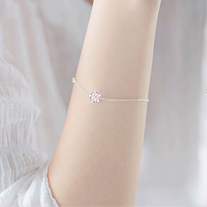 Silver Cherry Blossom Bracelet With Zircon Sakura Bangle Women 925 Sterling Jewelry 4