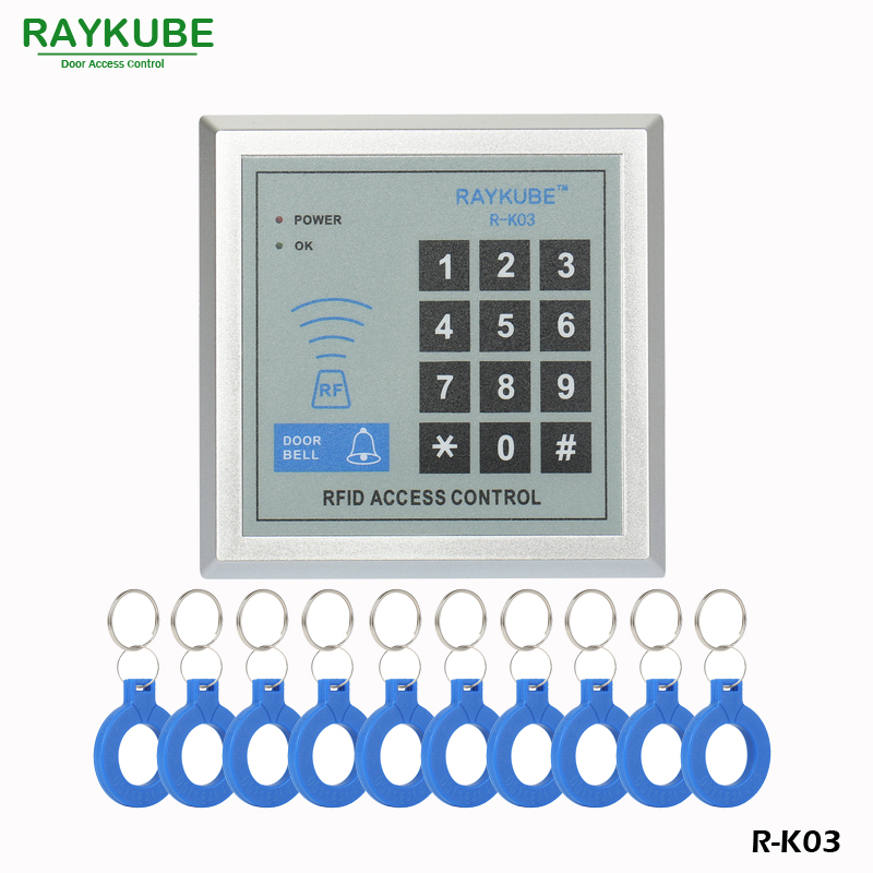 RAYKUBE RFID Reader Access Control Keypad Proximity Entry Door Lock +10pcs Keyfobs For House / Office / Home Improvement R-K03 access control all in one machine reader entry door keypad lock access control system for office family