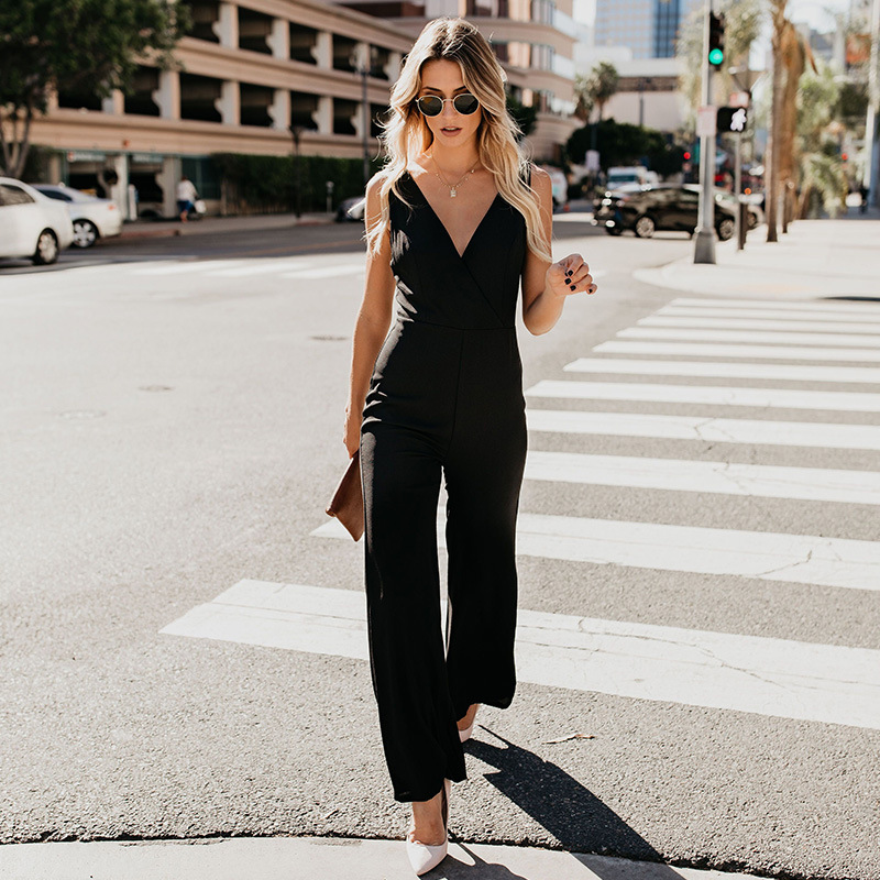 Women   Jumpsuit   Long Rompers Sleeveless V-neck 2019 Summer Wide Leg Pants Playsuit Elegant   Jumpsuit   Sexy Club Party Overalls