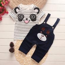 2018 2 unids set Bebé Ropa conjuntos niños algodón Cute Cartoon Panda rayas  Top + Pantalones para recién nacido infantil de las . e2ba7cc29ebd