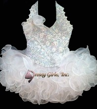 2014 New Design Halter Beaded Rhinestones Tiered Glitz Princess Toddler Pageant Dresses