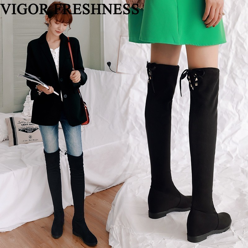 VIGOR FRESHNESS Brand Winter Women Shoes Height Increasing Boots Over The Knee Elastic Boots Heels Woman Boots Autumn Shoes MY48VIGOR FRESHNESS Brand Winter Women Shoes Height Increasing Boots Over The Knee Elastic Boots Heels Woman Boots Autumn Shoes MY48