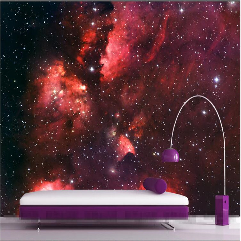 Mural Wallpaper for Living Room Red Star Cosmos Constellation Wall Paper Bedroom Background Sofa Modern Art Painting Home Decor