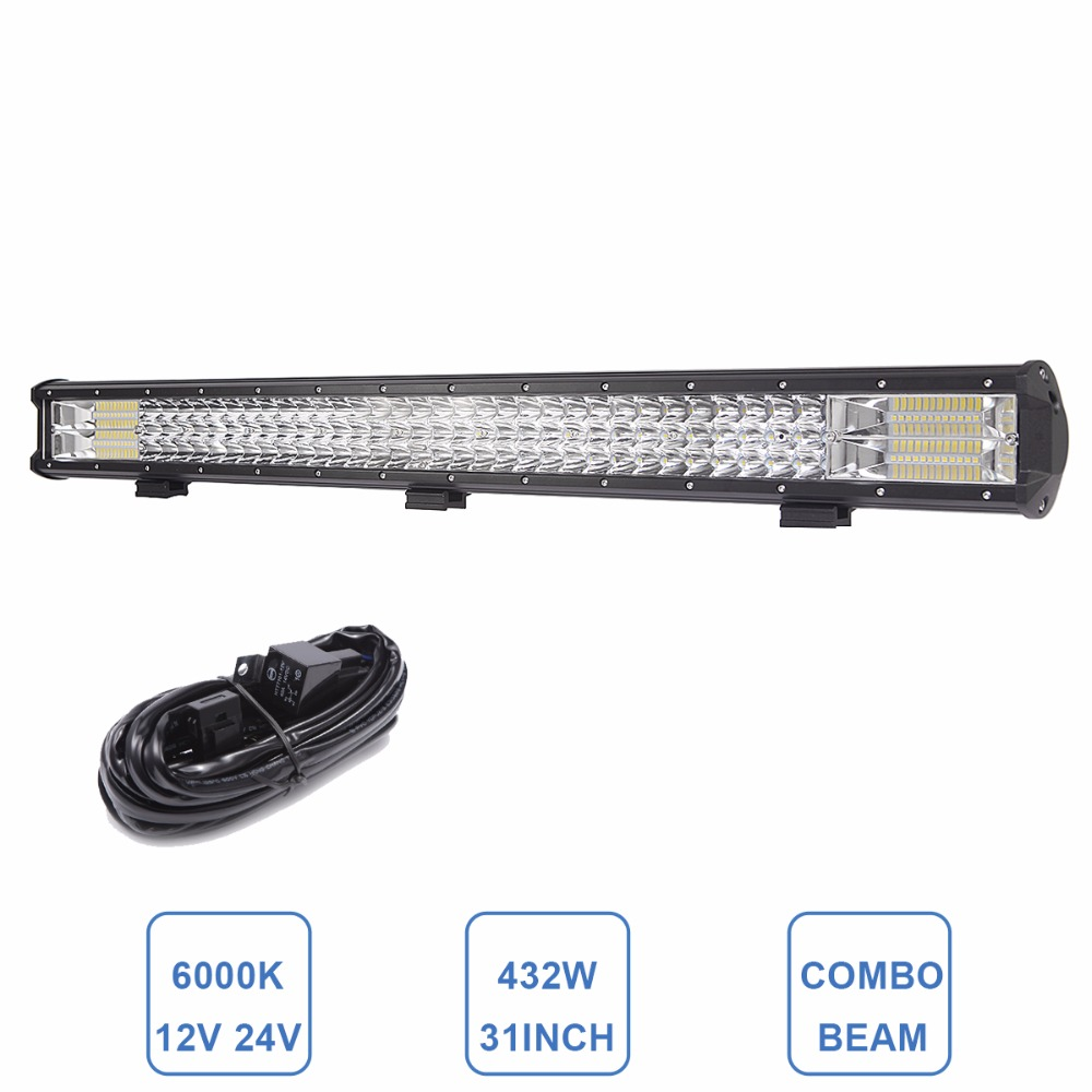 цены 31 Inch LED Work Light Bar Offroad Combo Car Trailer Truck SUV ATV 4x4 4WD Boat DC 12v 24v Driving Lamp Tractor Indicator Light