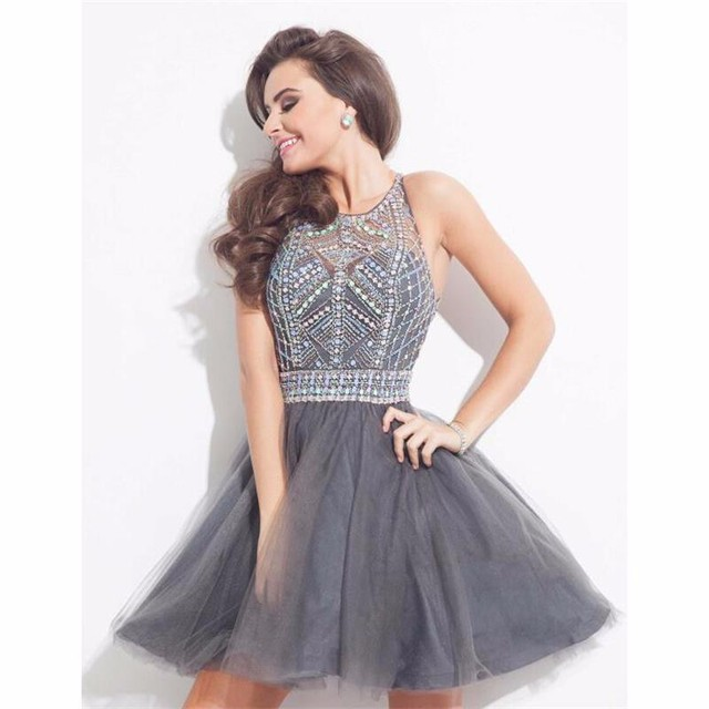 Rachel Allan Short Homecoming Dresses 2016 Grey Crystal Backless Sexy Tulle Beads Mini Cocktail Dress Prom Party Gown