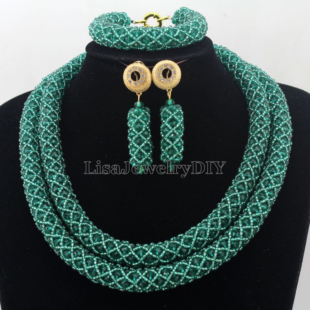 African Jewelry Sets Nigerian Beads Wedding Jewelry Set Bridal Statement Jewelry Set Womens Jewellery Set HD7258