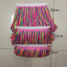 (10 yards/lot) Nylon trimming tassel fringe lace colorful high density trims and tassels DIY sewing decorative accessories
