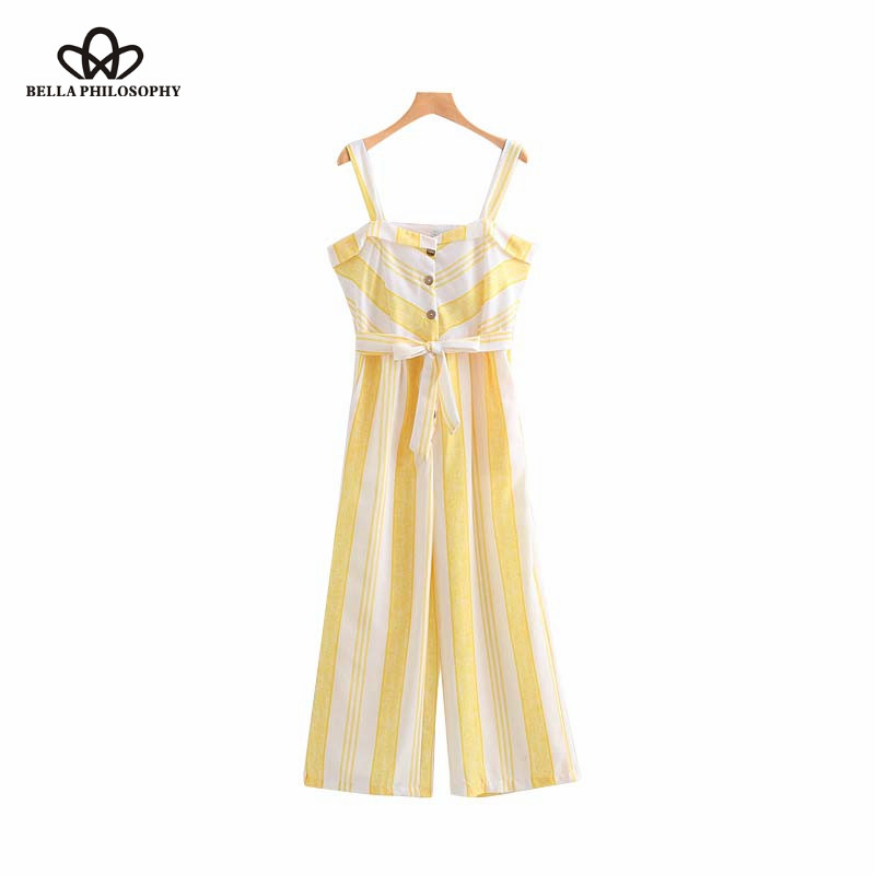 Bella Philosophy women striped sleeveless jumpsuits bow tie sashes straps rompers ladies streetwear chic yellow playsuits